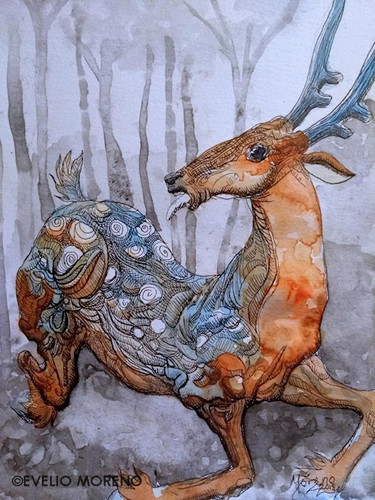 Deer in watercolor