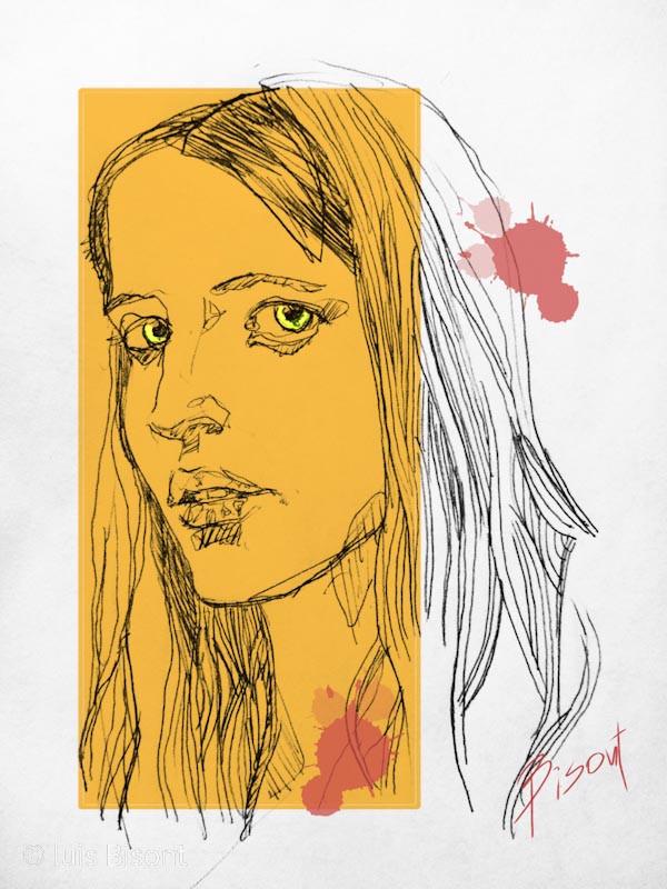 Ilustración basada en la actriz Eva Green.