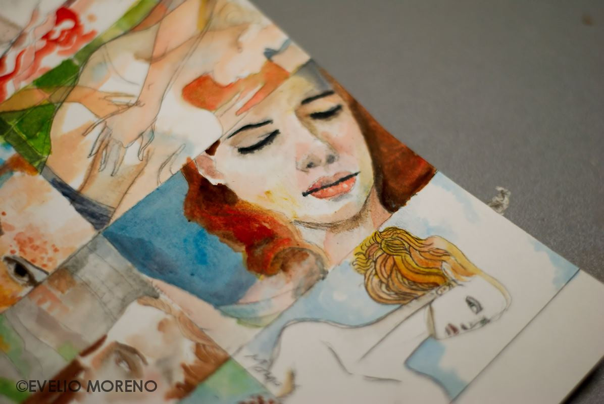 some watercolors on a single sheet of paper that would later be cut out to fit each in a cigarette box