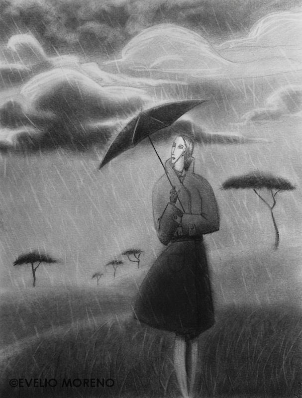 Mujer bajo la lluvia   Woman under the rain