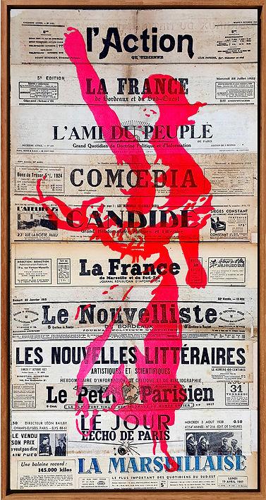 mariane delacroix popart streetart newspapers journaux anciens rose liberte freedom expression freethinking