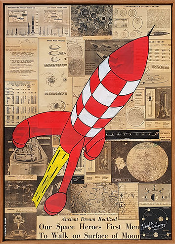 Apollo 11 Rocket newspaper popart streetart newspapers gabriel Dufourcq