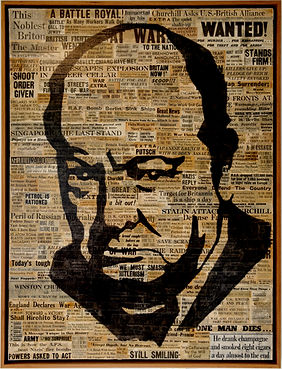 CHURCHILL; prime minister; downing street; london; UK; World War 2; WWII; Nazi; cigare; power; popart; icone; newspapers; archive