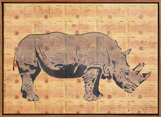 ASIAN RHINO ANIMAL SINGAPORE POPART STRAIT SETTLMENTS