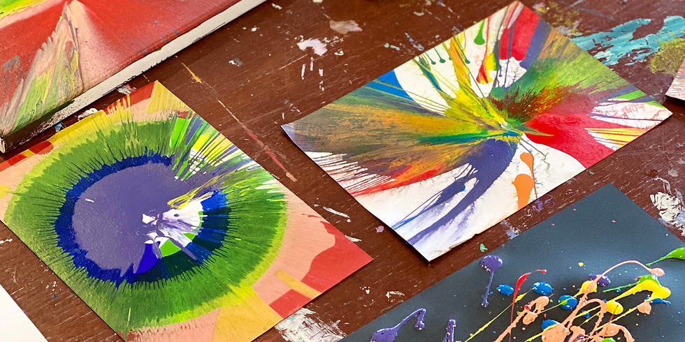 Spin art with paint AND drawing
