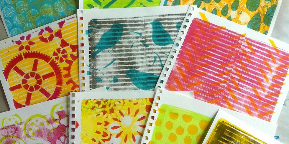 Gelatin plate printing - school holidays