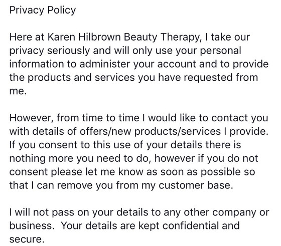 I've added my Privacy Policy