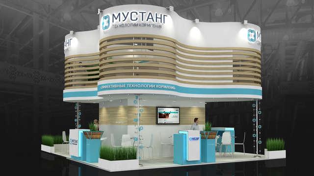 Дизайн двухэтажного выставочного стенда для компании Мустанг