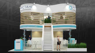 Design of a two-story exhibition stand for Mustang