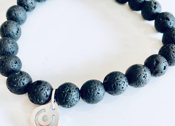 Lava stone beads bracelet with BeYou energetic symbol
