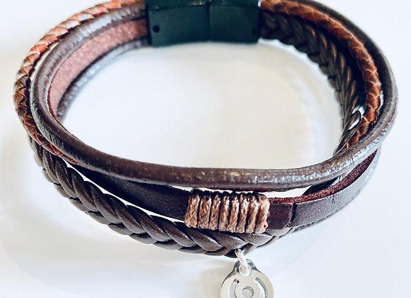 Brown Large BeYou energetic bracelet for Him