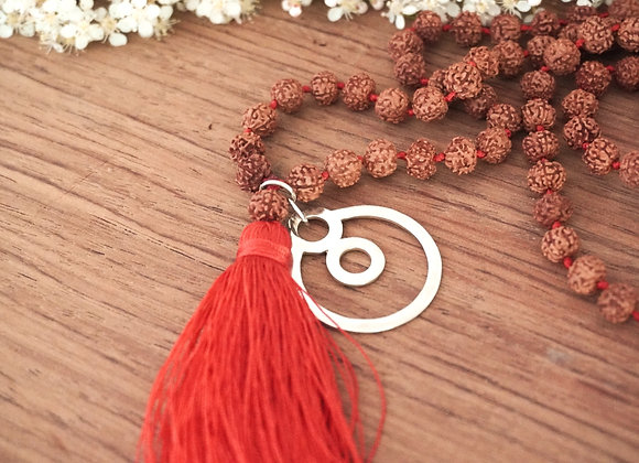 Sacred Rudraksha Beads Necklace with BeYou energetic Symbol M