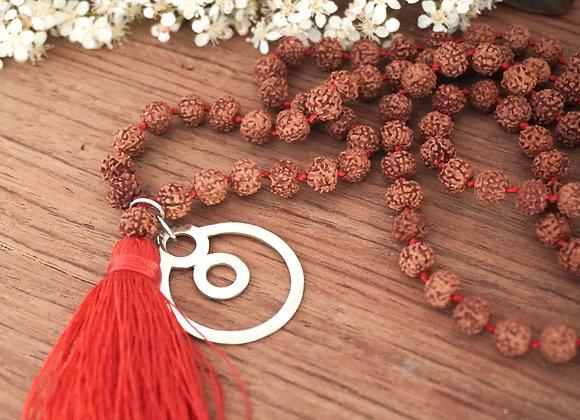 Sacred Rudraksha Beads Necklace with BeYou energetic Symbol M