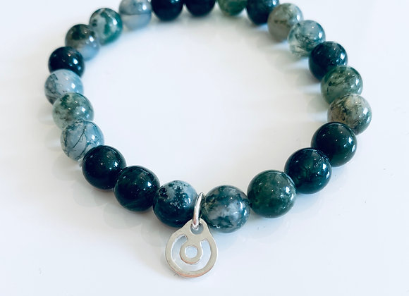 Energetic BeYou XS Silver with Sacred Green Stone Bracelet