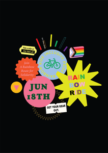A poster that calls people to engage in a Pride month ride on June 18th, 2020