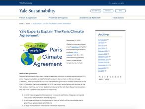 Yale Experts Explain The Paris Climate Agreement