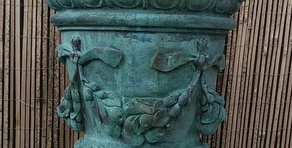 Verdigris Bronze Fuit Swag Vase