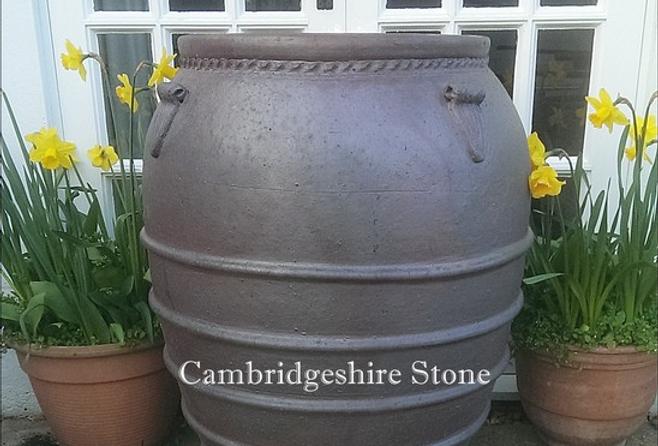 Ribbed Iron Stone Olive Jar