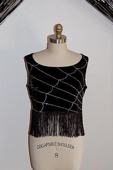Glitter Spiderweb Velvet Fringe Top