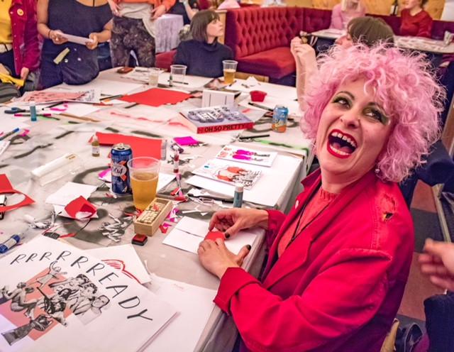Lyndell Mansfield taking part in Raissa Pardini's zine workshop at Grrrl at Moth Club photo by Bex Pannett