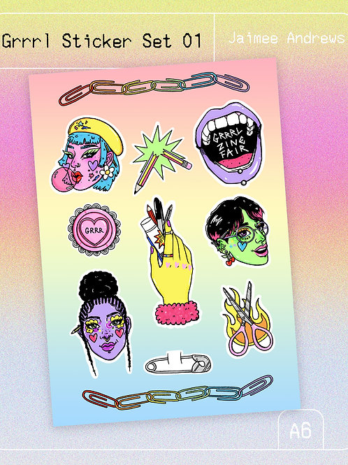 Grrrl Sticker Set 01