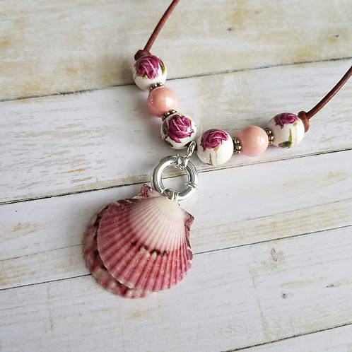 Roses are Forever Double Scallop Shell Necklace on Leather