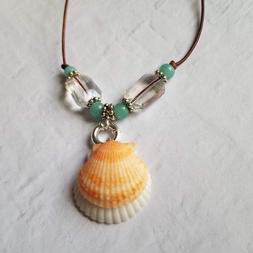 Florida Dream Double Scallop Shell Necklace on Leather