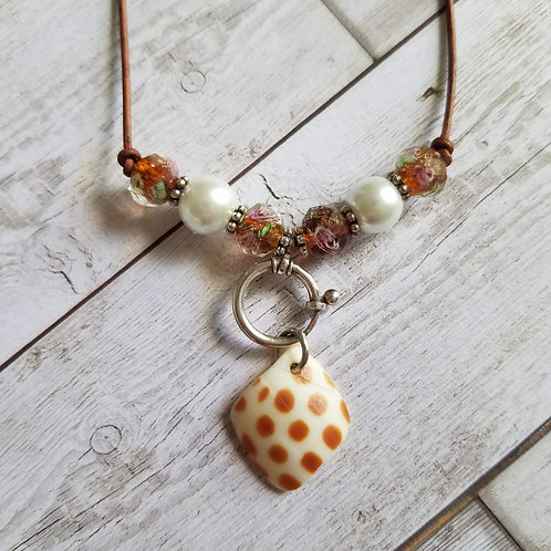 Pearl & Leather Junonia Shell Necklace on Leather