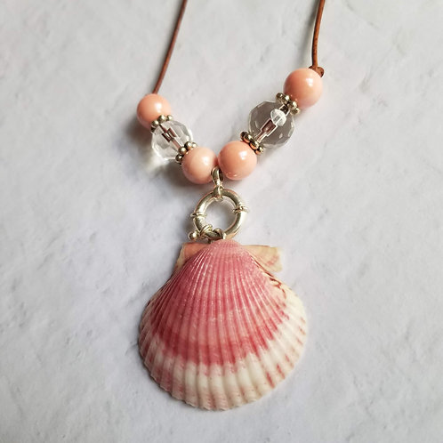 Pink Frosting Scallop Shell Necklace on Leather
