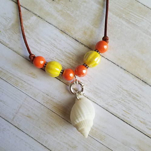 Albino Nutmeg Shell Necklace on Leather