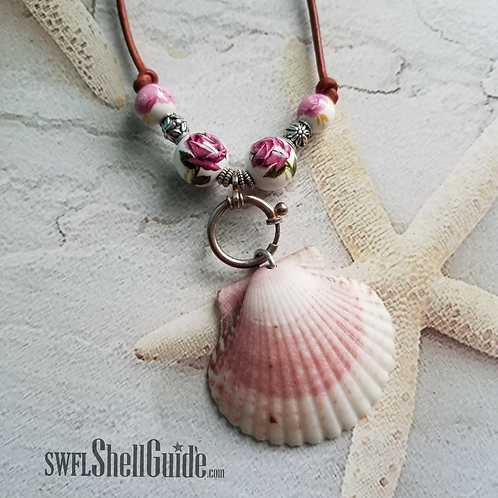 Scallop Shell Necklace on Leather