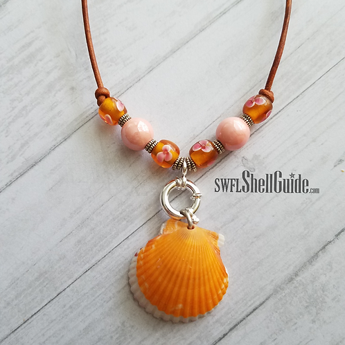 Orange Flower Dream Double Scallop Shell Necklace on Leather