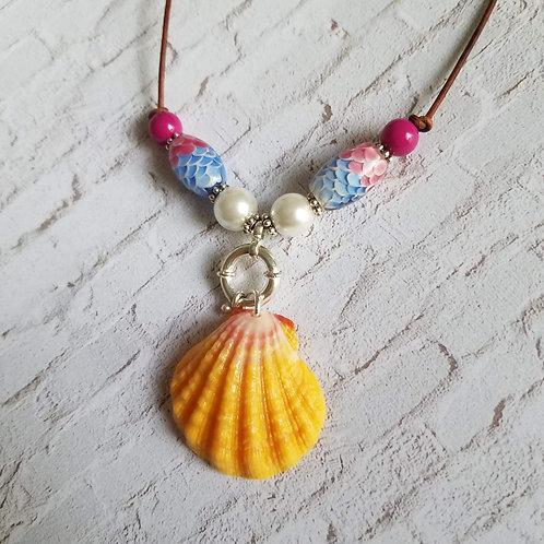 Hawaiian Sunrise Shell Necklace - Pink & Pearl Mermaid