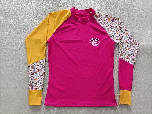 Women's Rash Guard - Long Sleeve Water Shirt - Pink & Yellow