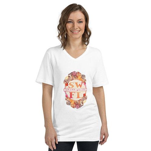 T-Shirt - SWFL Shell Guide Logo - Short Sleeve V-Neck - White