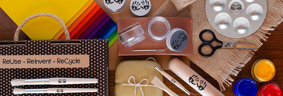 Earth-friendly art supplies available in the Art Adventure Shop including colorful wool felt, all-natural clay, sustainable clay tools and paintbrushes and more