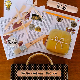 Enjoy a mini-adventure in art with contents of Mini Art Box including engaging info, step-by-step directions, and Earth-friendly materials including sustainable wood clay tools and paint brush, beeswax wrapped clay, acrylic glaze