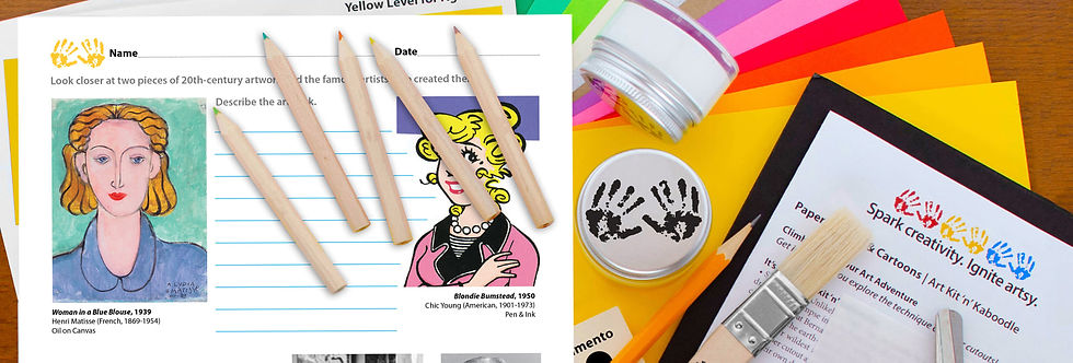 Artsy learning kaboodle activity sheet with colored pencils, acrylic paint pots, and paint brush