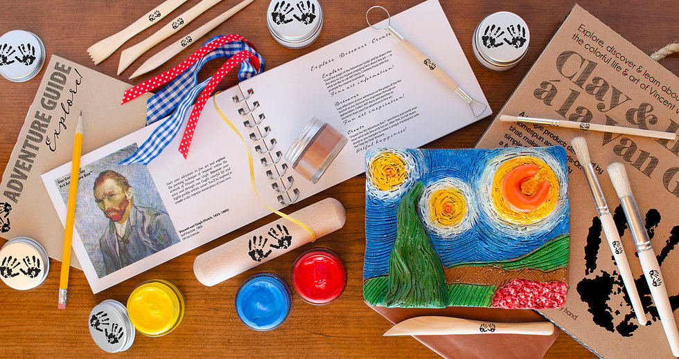Clay & Impasto a la Van Gogh Art Adventure Box sparks creativity with Art Journal and Adventure Guide so you create a masterpiece