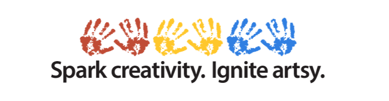 red, yellow and blue hand prints are Art Adventure Box's reminder to to spark creativity and ignite artsy