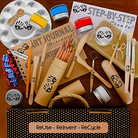Discover mindful creativity with contents of Mind 'n' Muse Art Box with adventure guide, art journal, and Eart-friendly materials including colored pencils, sustainable wood paint brushes and clay tools, acrylic paints, aluminum paint palette