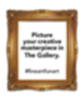gold frame inviting people to picture their masterpiece in The Gallery #fineartfunart