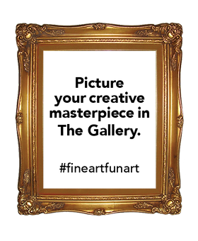 Gold frame with invitation to customers to picture their creative masterpiece in The Gallery #fineartfunart