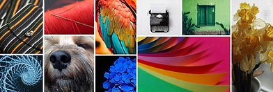 Artsy inspiration collage of colorful, unique images inspired by the elements of art