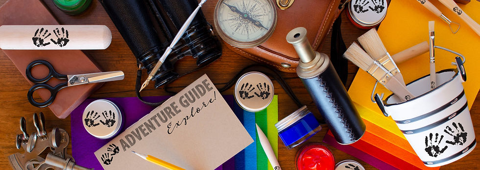 Spark creativity with adventure using no-slip grip scissors, acrylic paint pots, Adventure Guide, stylus, colorful 100% merino wool felt, sustainable clay tools, Earth-friendly paint brushes, binoculars, compass, spyglass, sextant as tools