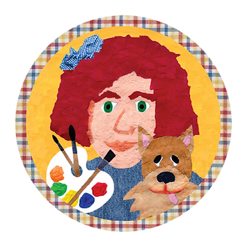 colorful paper collage of MommyO, host of Art to Know with MommyO vlog, holding a paint palette and a dog