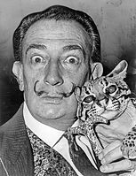 black and white image of Dali holding an ocelot linked to Dali's Drooping Dream Art Blog 'n' Craft Blueprint