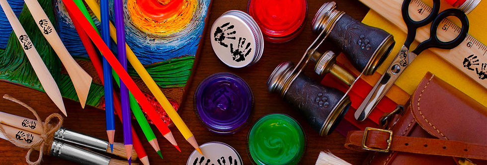Art materials to spark creativity including earth-friendly, premium materials — natural colored pencils, acrylic paints, and sustainable wood clay tools and paintbrushes