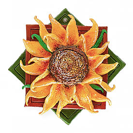 Clay sunflower plaquette created with Clay & Impasto à la Van Gogh Mind 'n' Muse Art Box