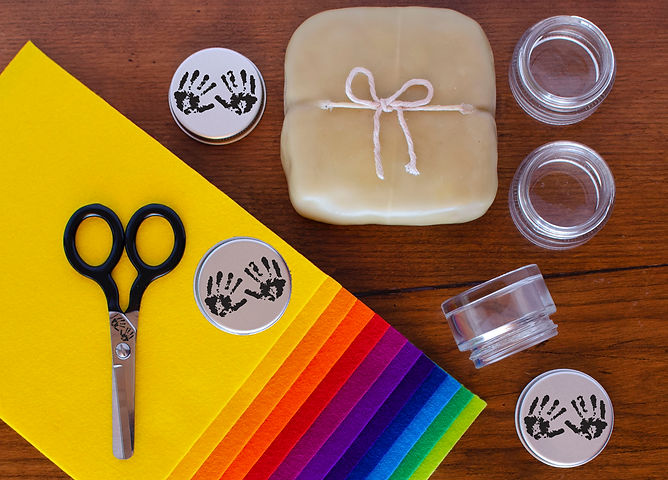 Spark creativity with Earth-friendly, premium materials including natural, air-dry clay packaged in beeswax, 100% wool felt, and recyclable glass paint jars to reduce landfill waste